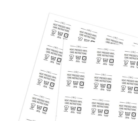 Printable Heat Pressed Vinyl Care Instructions Stickers For Small