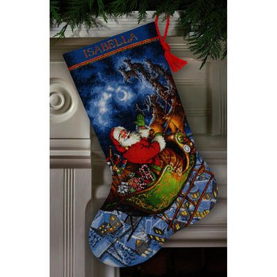 Gold Collection Santa's Flight Stocking Counted Cross Stitch
