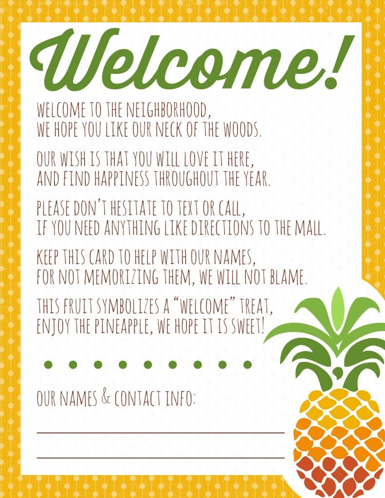 image relating to Welcome to the Neighborhood Printable called Welcome in direction of the Area Pineapple Reward + Printable