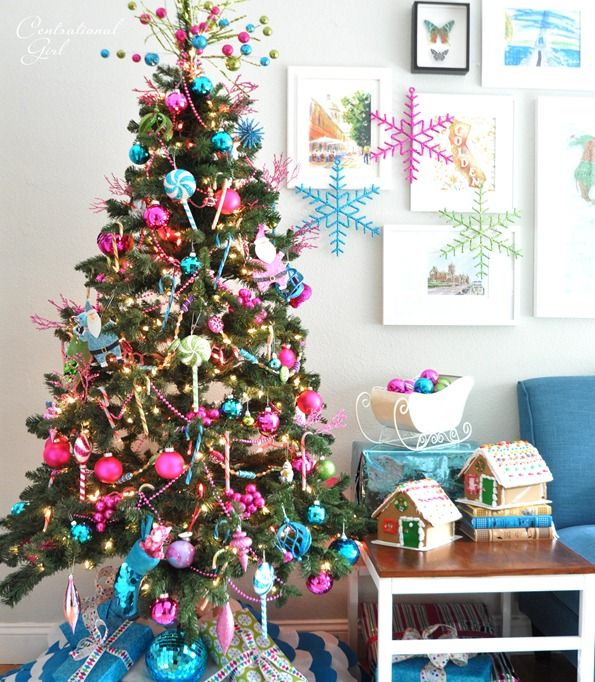 Colorful Christmas Tree Decorations.Candy Colored Christmas Tree Christmas Decorating Ideas