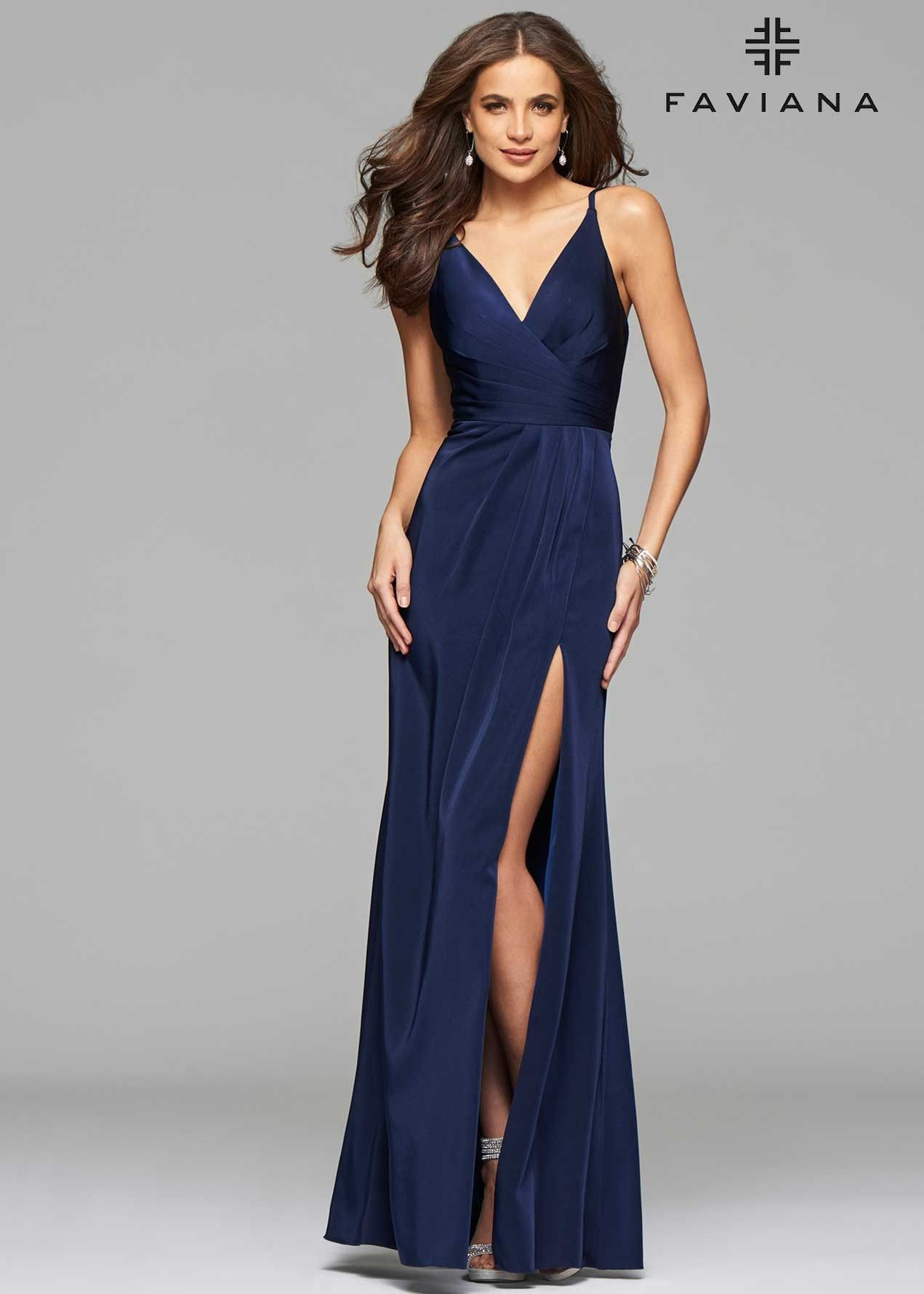 Faviana 7755 Faille Satin V-Neck Gown | Satin, Navy and Gowns