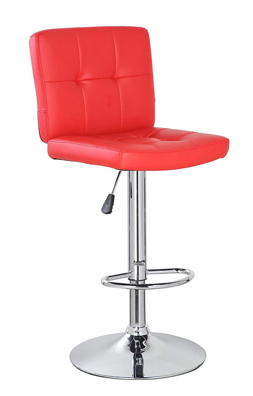 Anji Modern Furniture Contemporary Swivel Adjustable Height Leather Bar Stool With Backs Bar Chair Red Bar Stools With Backs Leather Bar Bar Chairs