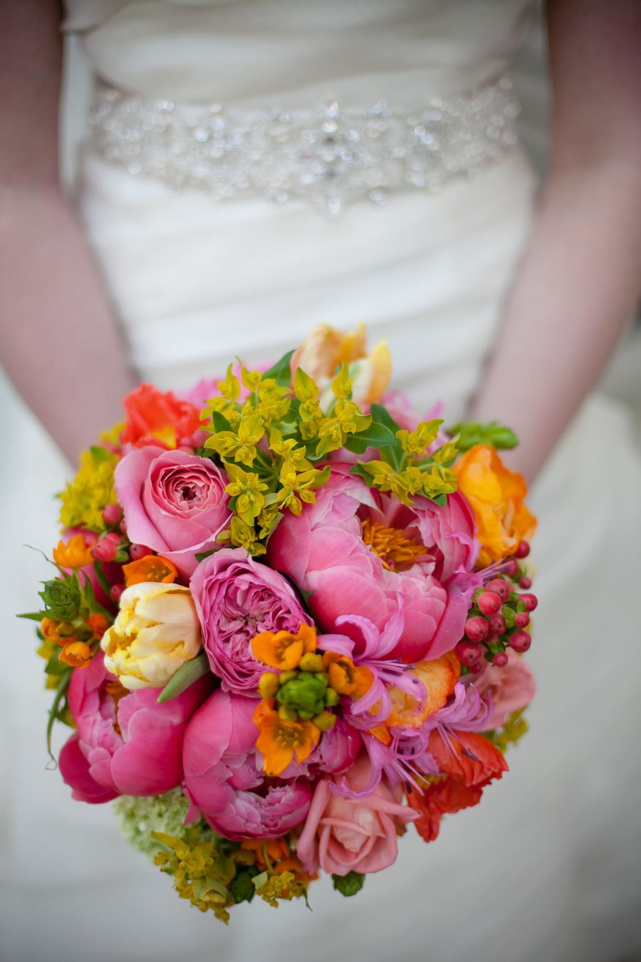 Brightly Colored Bouquet| See the wedding on SMP: http://www.StyleMePretty.com/texas-weddings/austin/2014/02/03/whimsical-allan-house-wedding/ Photography: AL Collective