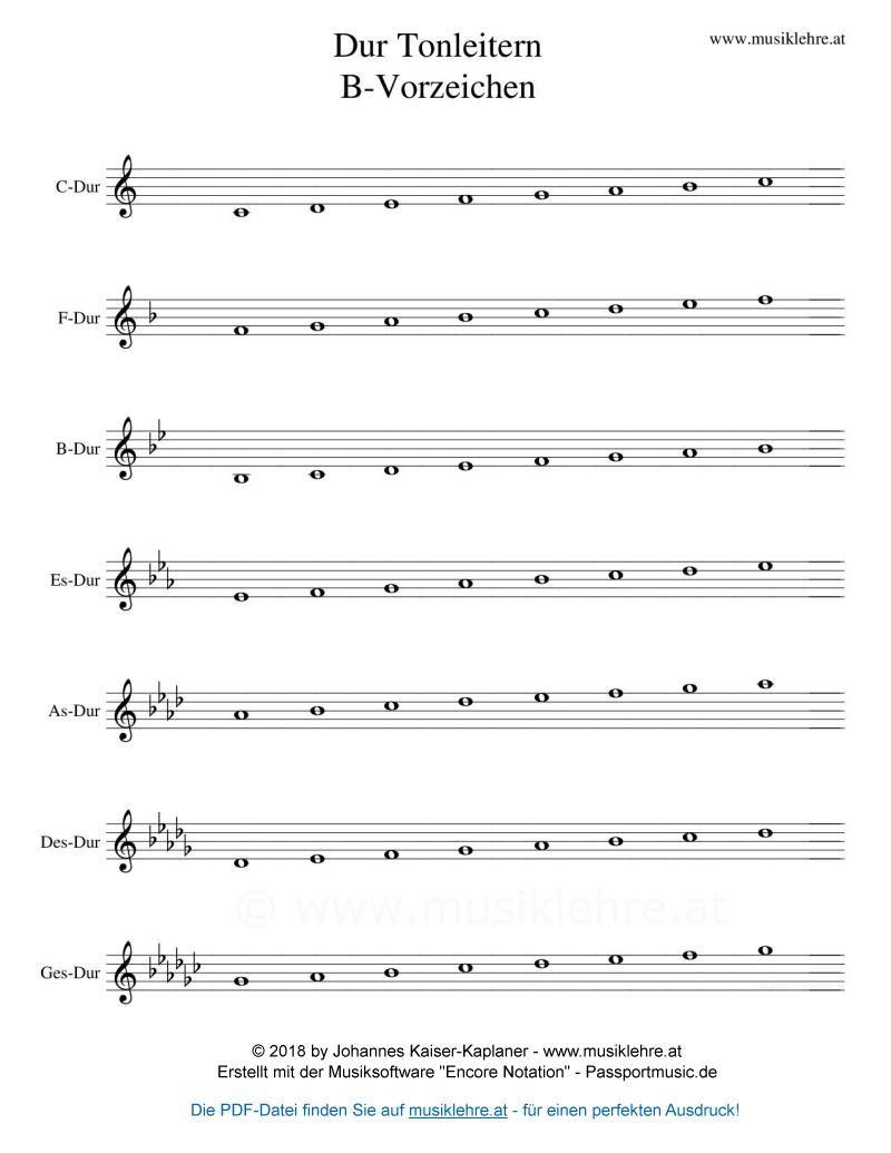 Dur-Tonleitern mit Generalvorzeichen Violinschlüssel B-Vorzeichen ...