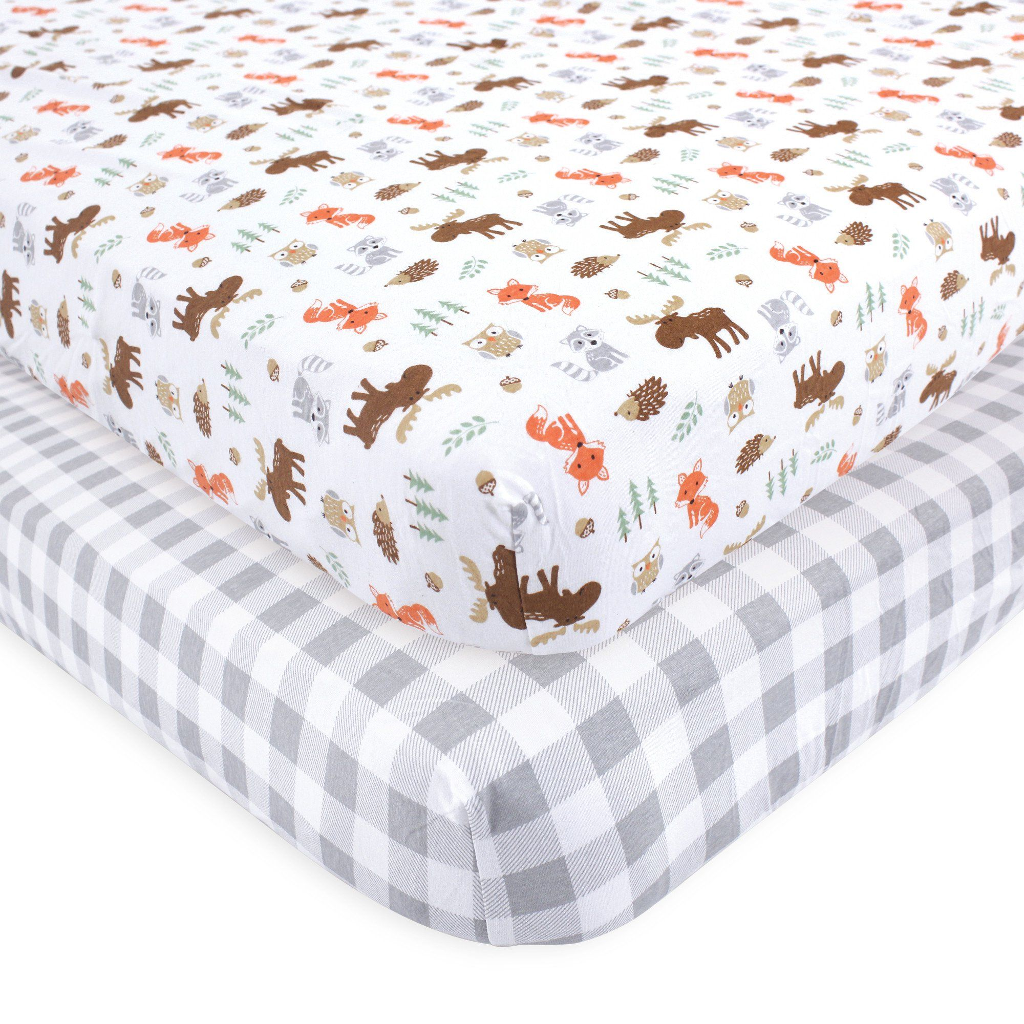 Hudson Baby Boy And Girl Fitted Crib Sheet 2 Pack Woodland Walmart Com In 2020 Crib Sheet Sets Fitted Crib Sheet Crib Sheets