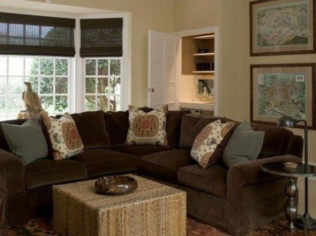 47 gorgeous living room colors ideas with brown couch to
