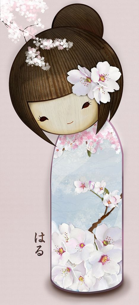 https://flic.kr/p/96bytP | HARU | Diseño kokeshi - primavera Kokeshi design - Spring 春のこけし。 Original size:72x150 cm