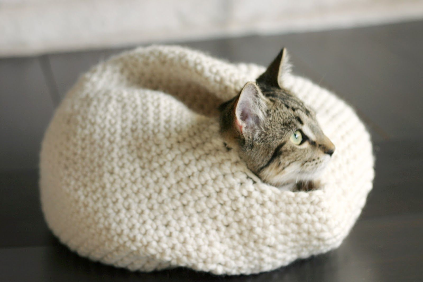 Crochet the special Kitty in your life a snuggly nest. Worked in ...