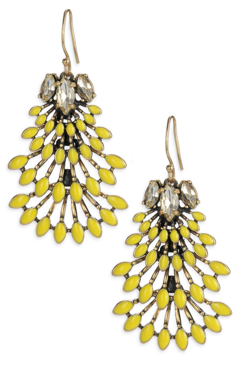 Yellow & Glass Stone Chandelier Earrings  Norah Chandeliers #stella & Dot