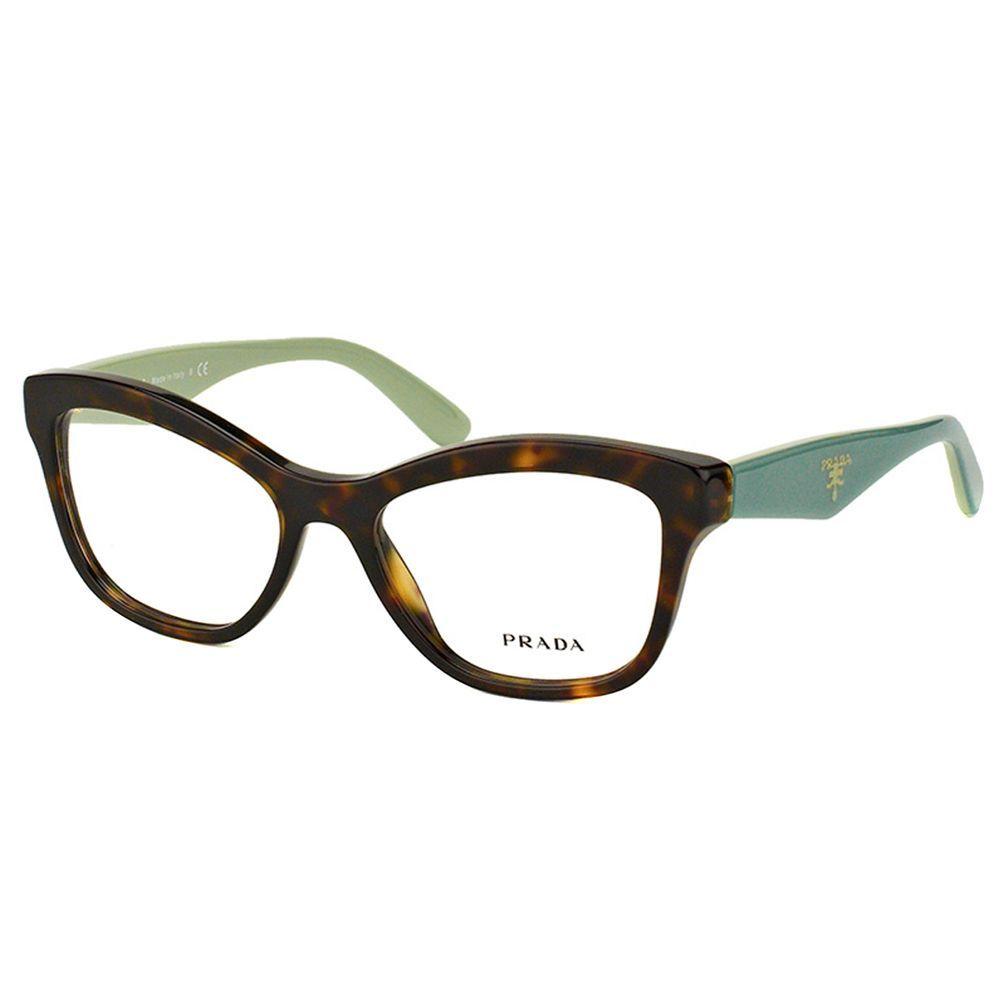 8a553994230 Prada PR 29RV 2AU1O1 Havana On Green Cat-Eye 54mm Eyeglasses