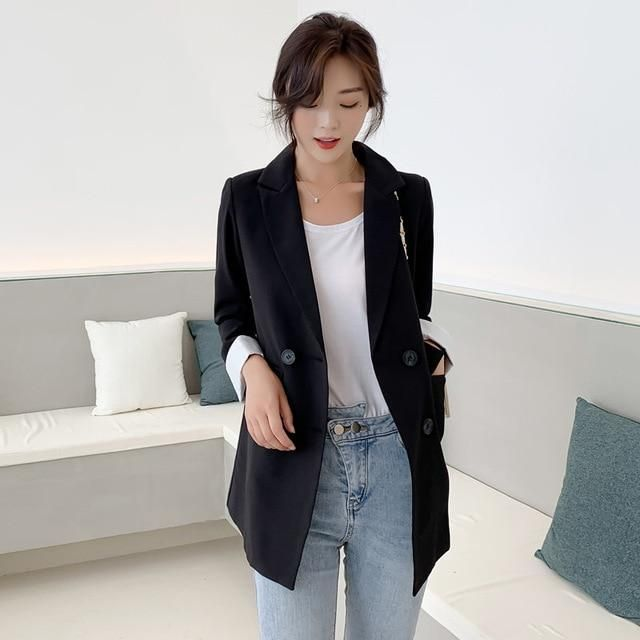 Chic Double-breasted Women Jackets Notched-neck Yellow Women Blazer Jacket Female Outerwear Elegant Ladies Coat 2019 Autumn