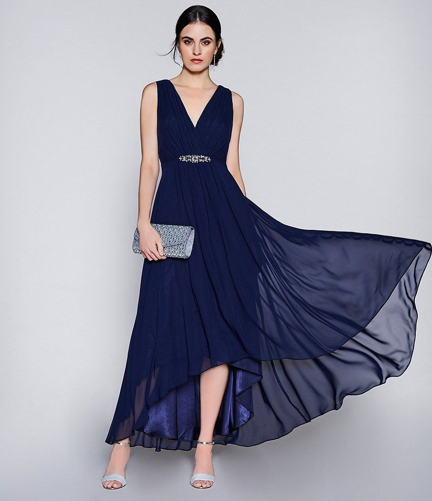 Low Waist Wedding Gowns: Eliza J V Neck Belted Empire Waist Hi-Low Midi Gown