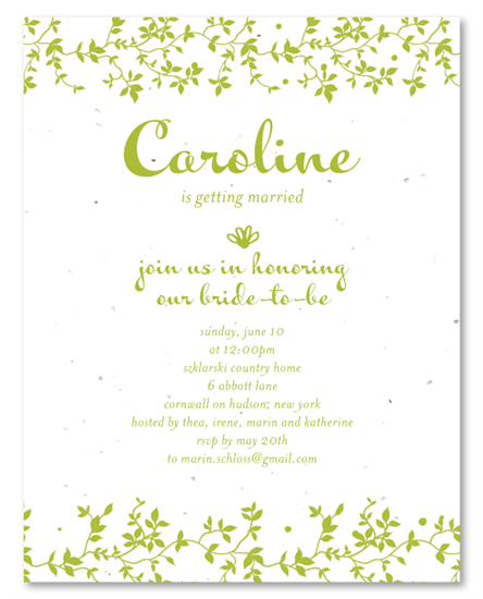 Garden bridal shower invitations green vines garden bridal garden bridal shower invitations on plantable paper green vines by foreverfiances weddings filmwisefo