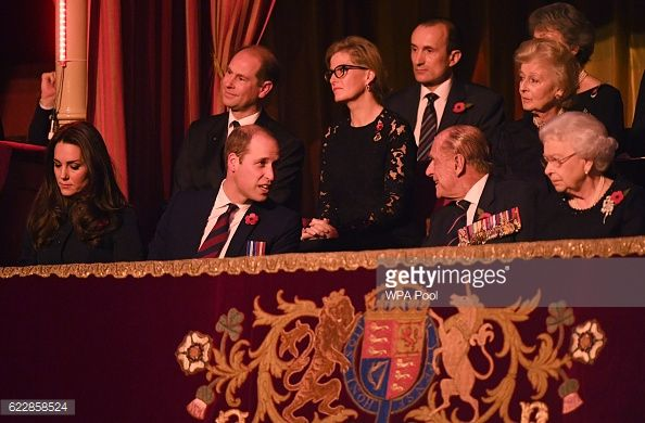 Prince William, Duchess Catherine, Prince Edward and Countess Sophie sit with Queen Elizabeth and Prince Philip at the annual Royal Festival of Remembrance at the Royal Albert Hall on Nov 12, 2016 in London.