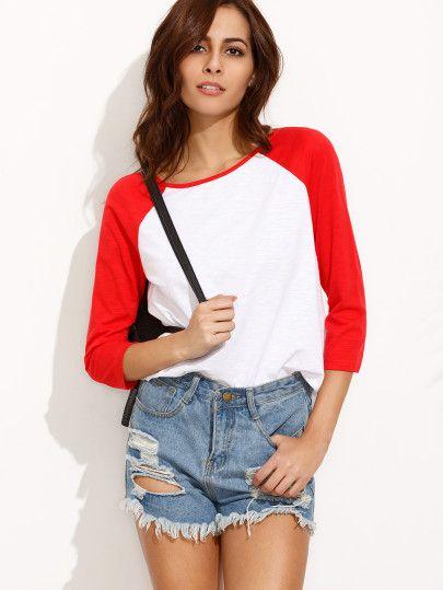 Camiseta escote redondo manga 3/4-Sheinside