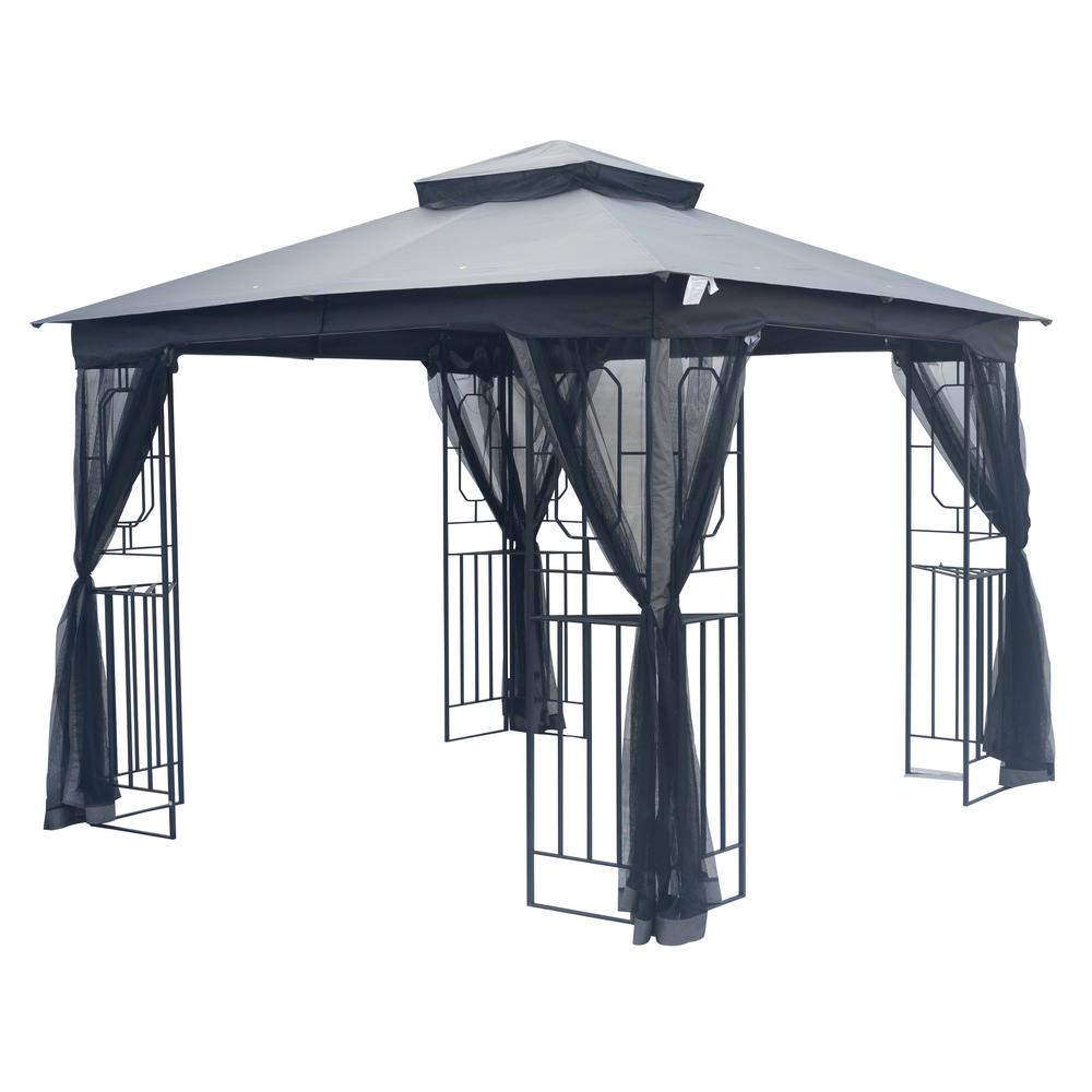 Taipeng 10 Ft X 10 Ft Steel Fan Gazebo Tpgaz1558 The Home Depot In 2020 Gazebo Gazebo Canopy Garden Gazebo