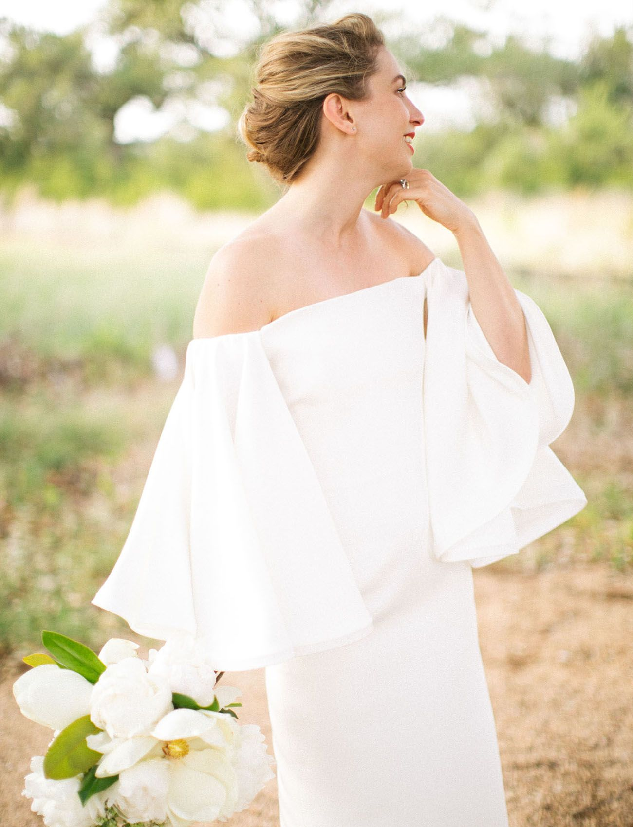 Minimalist sleek wedding in the texas hill country wedding dress