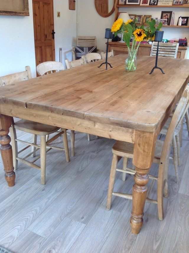 Large Seats 12 Pine Farmhouse Dining Table Can Deliver 6 Farmhouse Dining Table Farmhouse Kitchen Tables Table