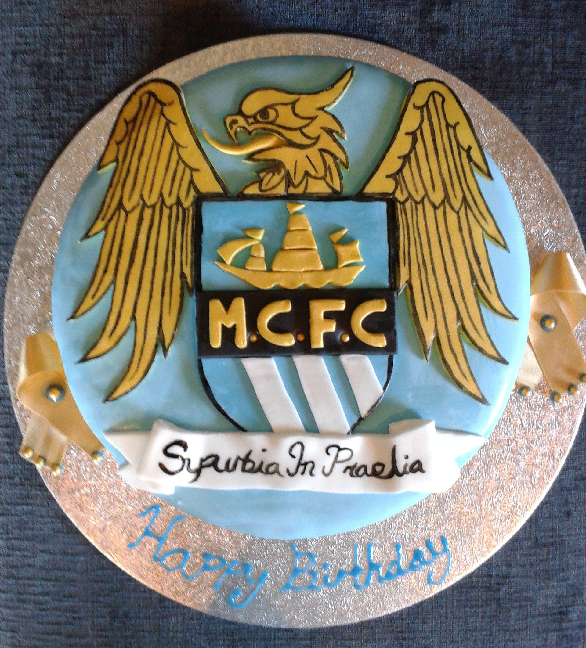 Manchester city Birthday cake by Fat rascal cake co Warrington www