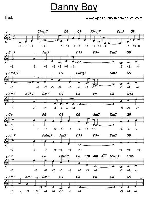 Danny Boy Harmonica C Harmonicas Pinterest Tablature Sheet