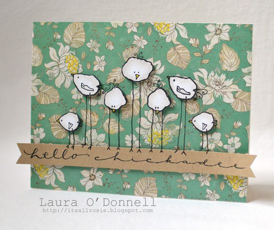 The birds on this Hello Chickadee handmade card are so cute!