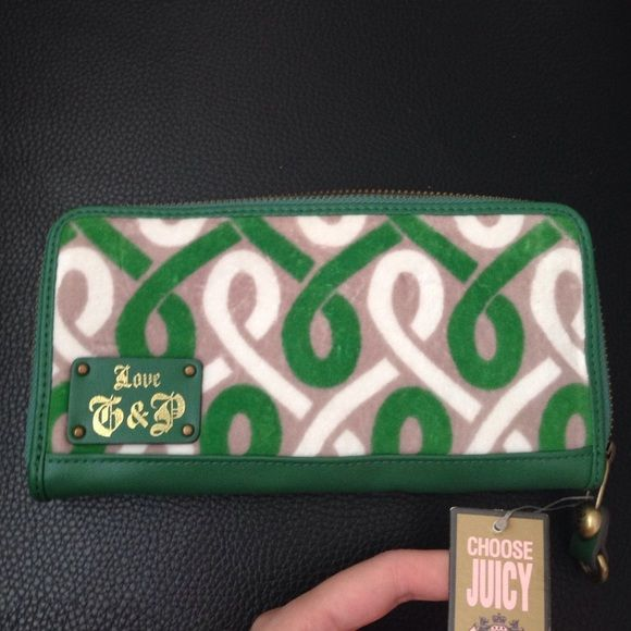 Brand new authentic Juicy Couture green wallet Brand new authentic Juicy Couture green wallet, genuine leather trims.  100% authentic. Juicy Couture Bags Wallets