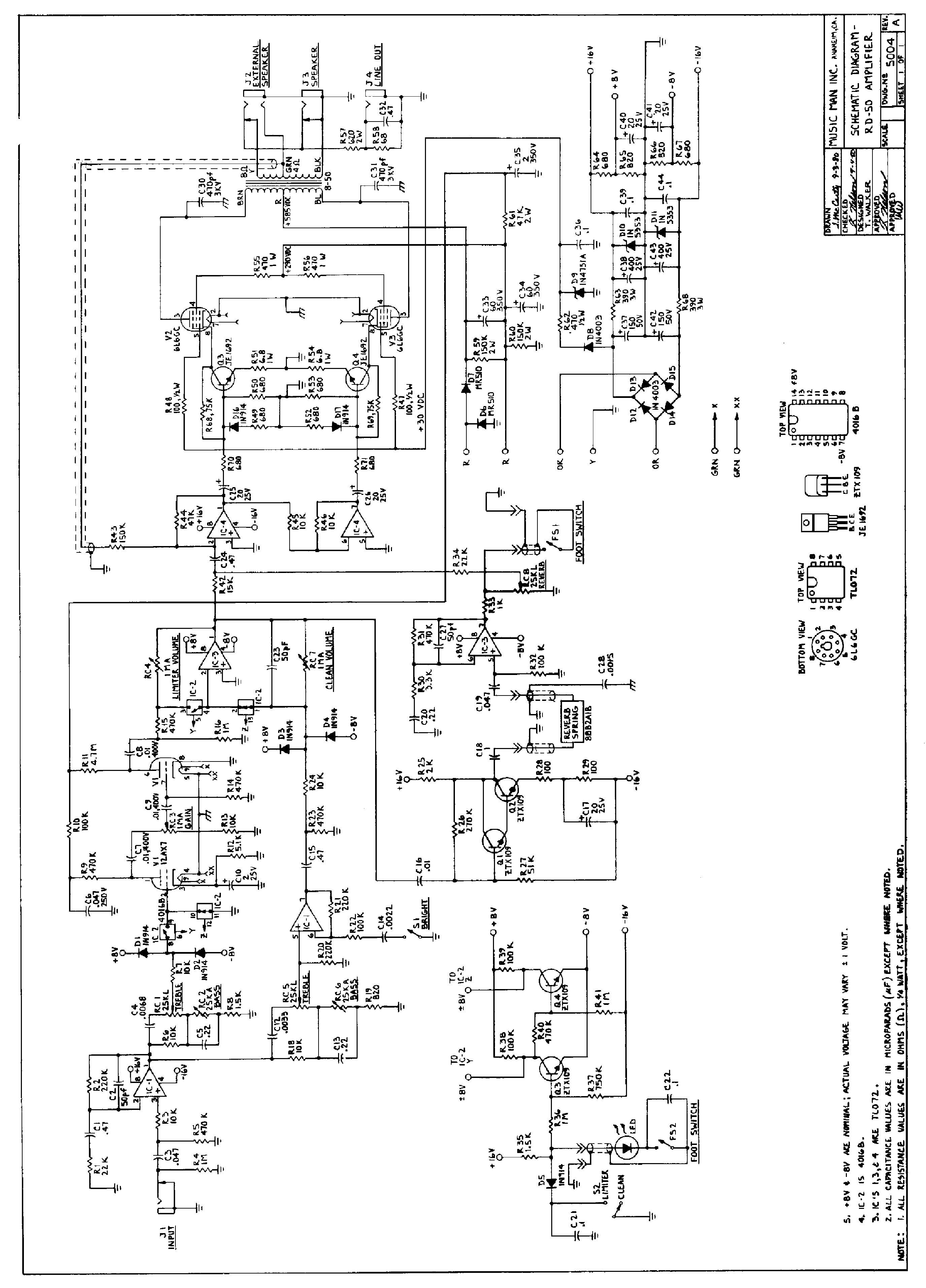 Musicman Rd 50 Reverb Amplifier Sch Service Manual