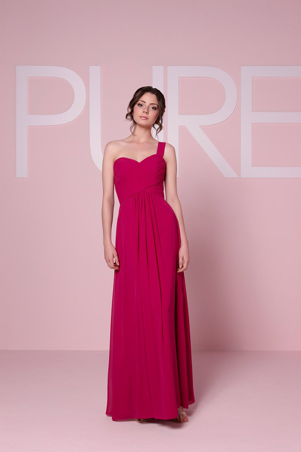 This asymmetrical bridesmaid dress from Pure Bridesmaid has a ...