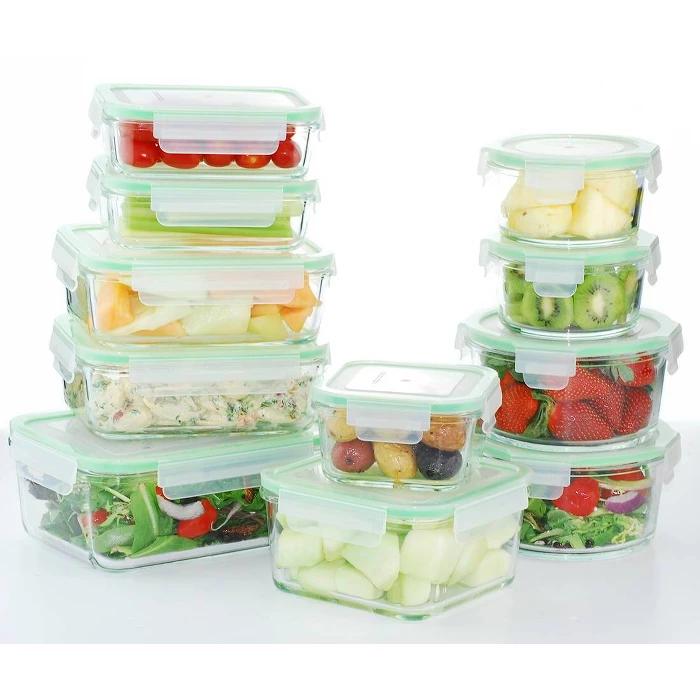 Kinetic Gogreen Glassworks 22 Piece Oven Safe Glass Food Storage