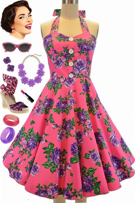 e4c693ac701 50S Style Plus Size Miss Mabel Bright Pink Rose Floral Pinup Halter Sun  Dress