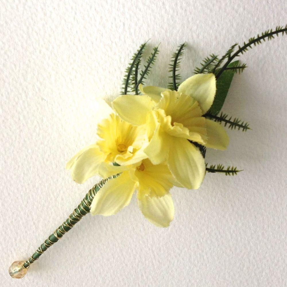 Yellow Mini Daffodil Silk Flower Wedding Buttonhole Wedding