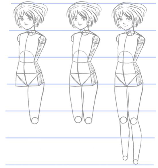How to draw manga bodies in three quarter angle