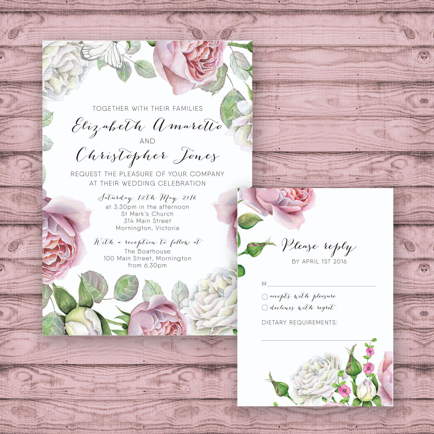 Floral Wedding Invitation Suite - Print at Home Files or Printed ...
