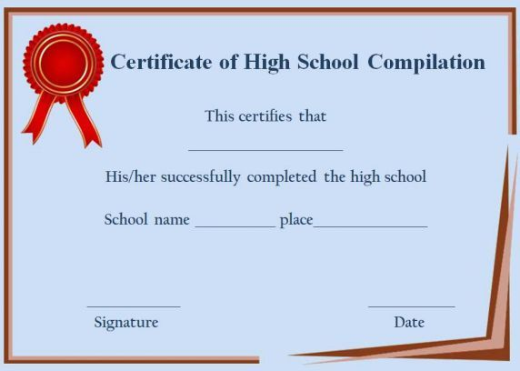 Certificate Of Completion High School Template  Certificate Of