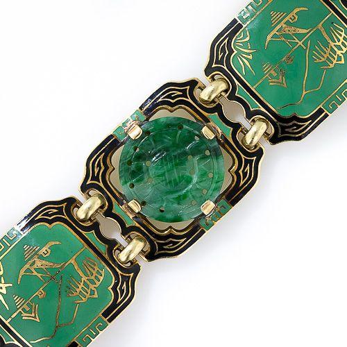 1930s Jade and Enamel Art Deco Bracelet