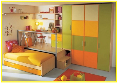 Hide Beds Desk On Trundle Bed Combination With Color Coordinated Wardrobe