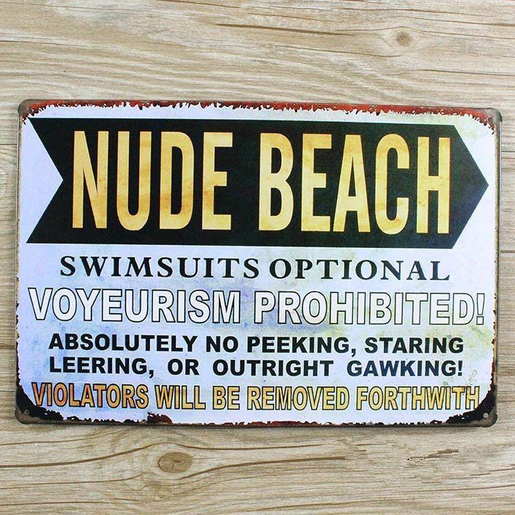 About Letters Slogan Nude Beach Metal Painting Ua 0131 Metal Vintage