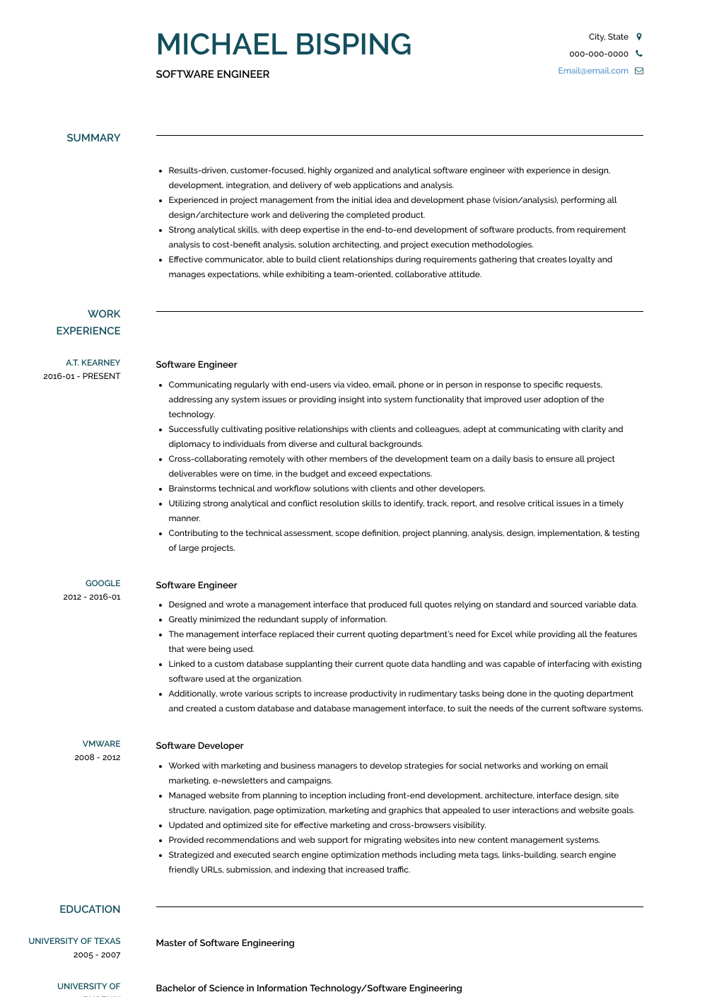 Software Engineer Resume Samples & Templates VisualCV
