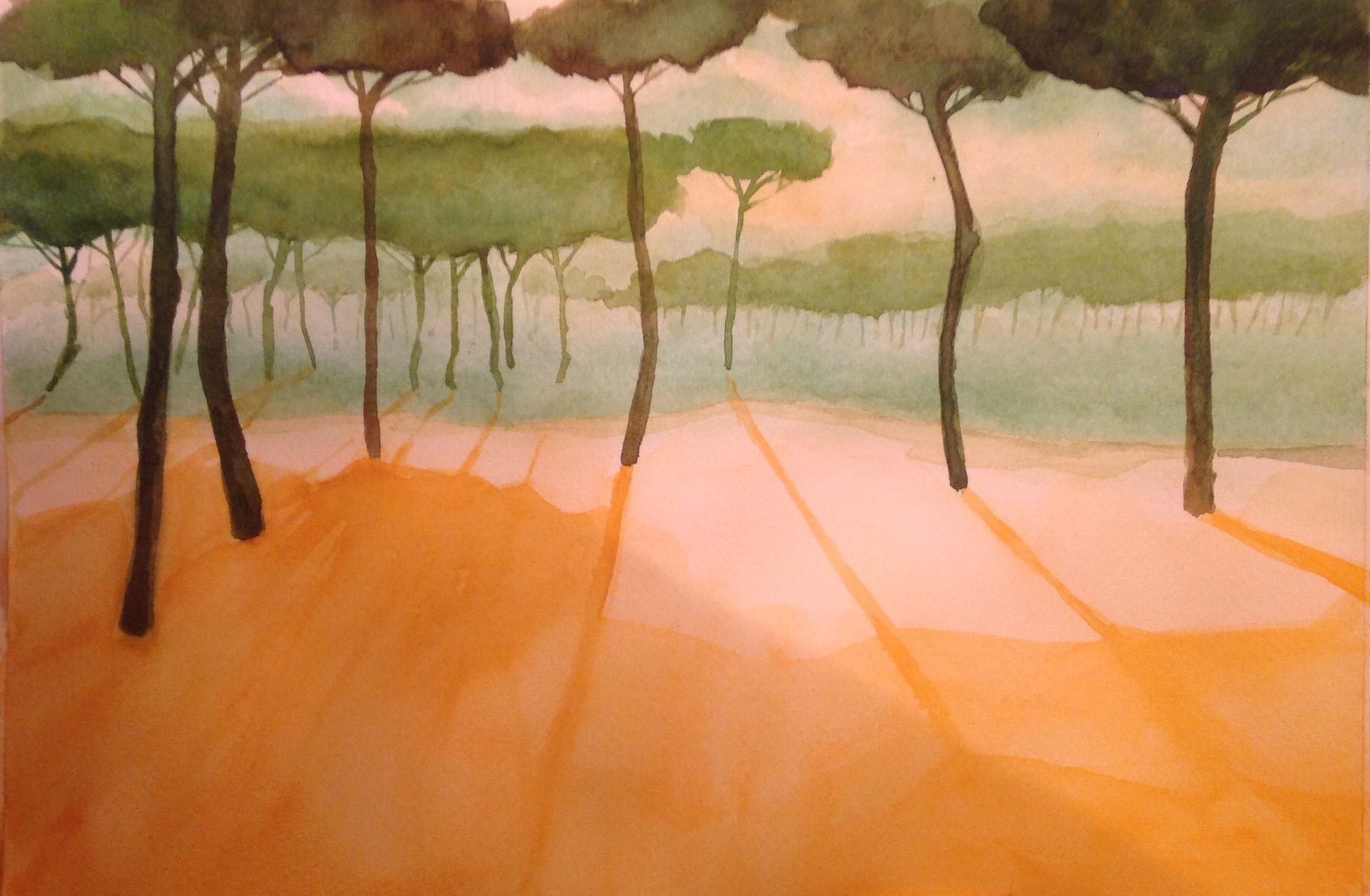 Pinares de Isla Cristina. Acuarela. Watercolor.