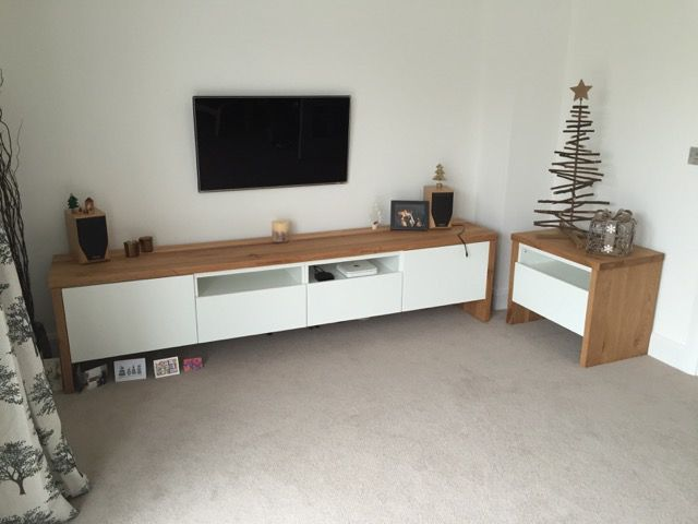 BESTÅ TV Unit with Oak wrap around Tv units, Woods and Ikea hack - Wohnzimmer Ikea Besta