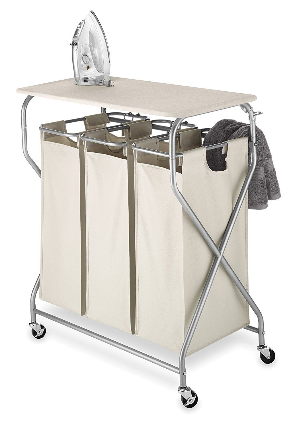 Whitmor Easy Lift Triple Sorter With Folding Table For Ironing