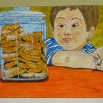 RESISTING TEMPTATION Boy with Cookie Jar ORIGINAL 16×20 CANVAS Acrylic painting   By My Hands Only