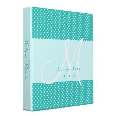 blue polka dot mongrammed wedding planner/album