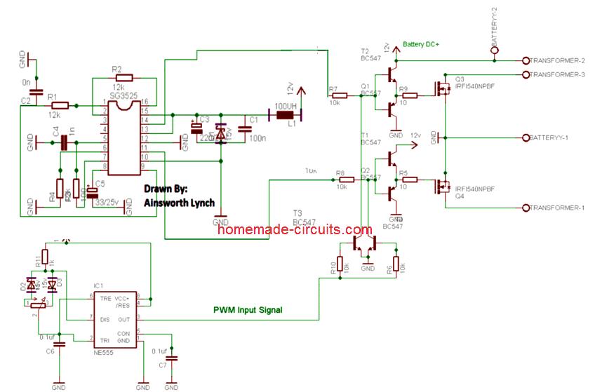 3 High Power SG3525 Pure Sinewave Inverter Circuits ...