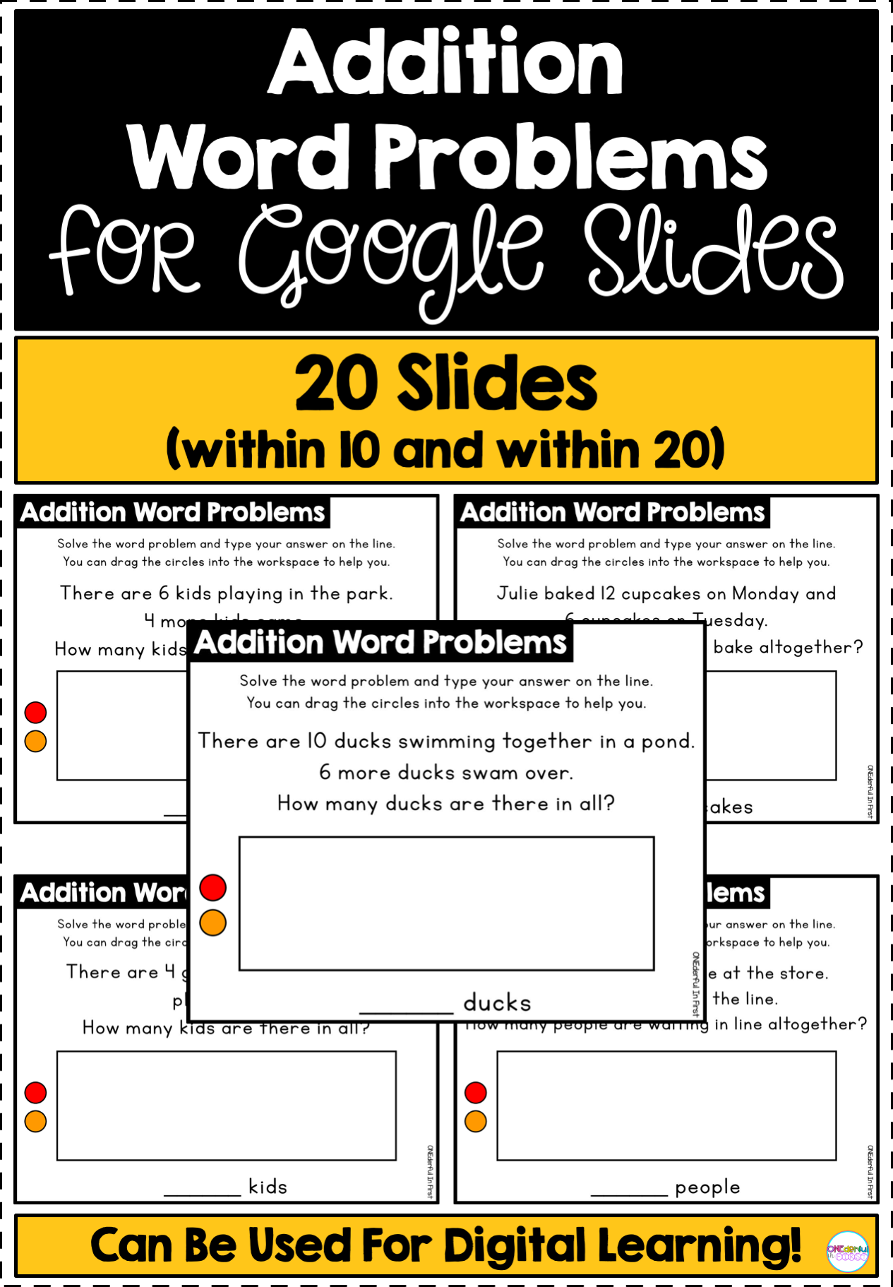 Addition Word Problems For Slides Differentiated