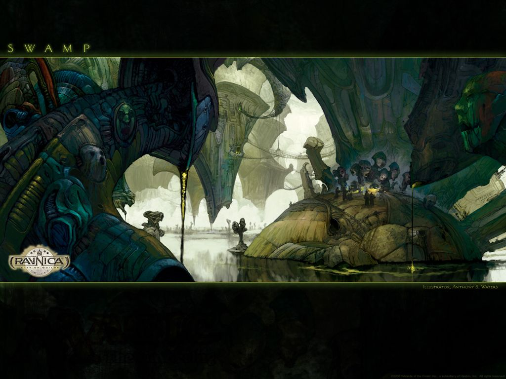 Wallpaper Of The Week Ravnica Swamp In 2020 Magic The Gathering