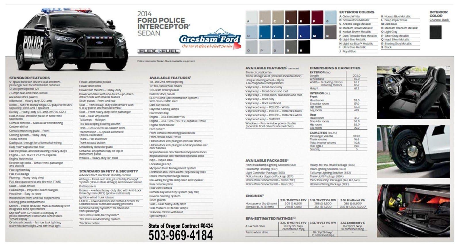 2014 Ford Police Interceptor Sedan Standard And Available Options Sheet Ford Police Interceptor Police