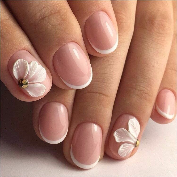 French manicure ideas 2017, French nail art, Hardware nails, Ideas of gentle nails, modeling nails, Nails with acrylic powder, Party nails, Pastel nail designs