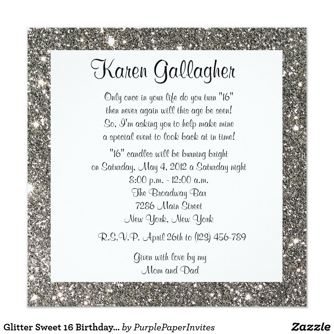 Glitter Sweet 16 Birthday Party Custom Invitation 75th birthday