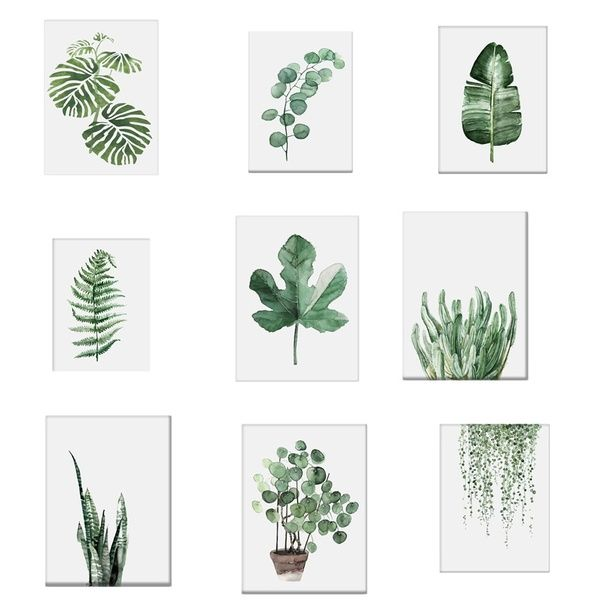 21x30CM 1Pc Watercolor Tropical Plant leaves Canvas Art Print Poster Nordic Green Plant leaf rural Wall Pictures for Home Decoration New | Wish -   18 tropical plants Watercolor ideas